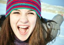 skrikig vinter för flicka Royaltyfri Fotografi