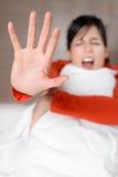 Skrikigt stoppmissbruk för kvinna Arkivbilder