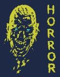Skrikigt vampyrhuvud i blått- och gulingfärger också vektor för coreldrawillustration Royaltyfria Bilder
