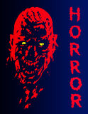 Skrikigt vampyrhuvud i röda och blåa färger också vektor för coreldrawillustration Arkivbild