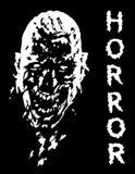 Skrikigt vampyrhuvud i svartvita färger också vektor för coreldrawillustration Arkivbilder