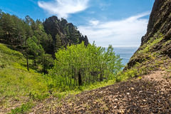 Skriper cliff near the village of Bolshie Koty Stock Images