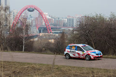 Skripnikov and Grechko in racing car on Rally Masters Show Royalty Free Stock Photography