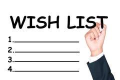 Skriv önskelistan Arkivbild