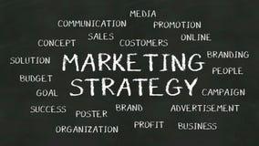 Skriv begreppet av 'marknadsföringsstrategi' på den svart tavlan royaltyfri illustrationer