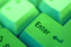 skriv in den gröna tangenten Royaltyfri Bild