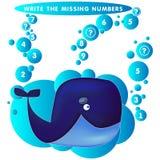 Skriv det saknade numret det blåa valet Temat av sjöjungfruvektorillustrationen royaltyfri illustrationer