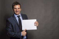 Skriv din affärsman för idéer som här - pekar till tomt utrymme Royaltyfria Foton
