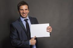 Skriv din affärsman för idéer som här - pekar till tomt utrymme Arkivbild