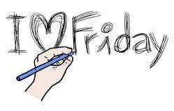 Skriv förälskelse fredag Arkivbild