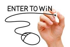 Skriv in för att segra musbegrepp royaltyfri foto