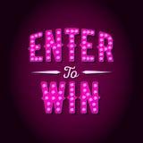 Skriv in för att segra vektortecknet, segra priset, seger i lotteri stock illustrationer