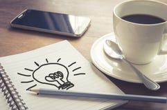 Skriv idépapper med kaffekoppen och ila telefonen Royaltyfri Bild