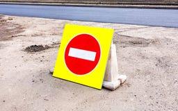 Skriv in inte trafik för att underteckna över ny asfaltyttersida arkivfoton