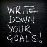 Skriv ner dina mål! Royaltyfri Fotografi