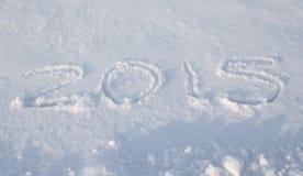 Skriv snö av 2015 fotografering för bildbyråer