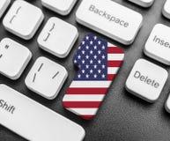 Skriv in tangentknappen med flaggan av USA arkivbilder