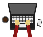 skriv till datoren royaltyfri illustrationer