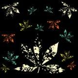Skriv ut abstrakt bakgrund för LeavesPattern vektorsvart royaltyfri illustrationer