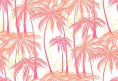 Skriv ut den sömlösa modellen för rosa palmträd på vit bakgrund Vektorillustration, designbeståndsdel för lyckönskan stock illustrationer