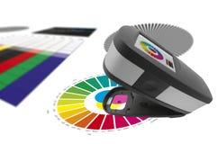 Skriv ut kontroll, kvalitets- lappar för spectrophotometerkontrollfärg royaltyfria foton