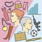 Skriv ut vilka kvinnor tänker - vilka män tänker stock illustrationer
