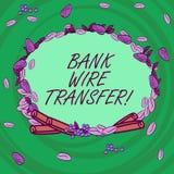 Skriva överföring för tråd för anmärkningsvisningbank Affärsfotoet som ställer ut pengar, går från en bank eller kreditering anna vektor illustrationer
