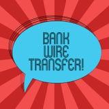 Skriva överföring för tråd för anmärkningsvisningbank Affärsfotoet som ställer ut pengar, går från en bank eller kreditering anna royaltyfri illustrationer