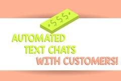 Skriva anmärkningen som visar automatiserade textpratstunder med kunder Affärsfoto som ställer ut pratstundbot för konstgjord int royaltyfri illustrationer