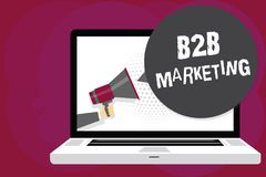Skriva anmärkningen som visar B2B marknadsföringen Affärsfotoet som ställer ut blytak för sammanslagning för partnerskapföretagsd vektor illustrationer