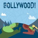 Skriva anmärkningen som visar Bollywood Affärsfoto som ställer ut bion för underhållning för Hollywood filmfilm stock illustrationer
