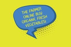 Skriva anmärkningen som visar bonden Online Buy Organic nya grönsaker Affärsfoto som ställer ut sunda det avlånga matmellanrumet  arkivfoton