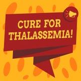 Skriva anmärkningen som visar bot för Thalassemia Affärsfotoet som ställer ut behandling som behövdes för denna övertagna blodoor vektor illustrationer