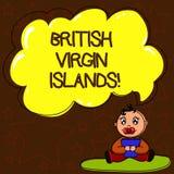 Skriva anmärkningen som visar British Virgin Islands Affärsfotoet som ställer ut det brittiska utländska territoriet i det karibi royaltyfri illustrationer
