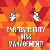 Skriva anmärkningen som visar Cybersecurity riskledning Affärsfoto som ställer ut identifiera hot och applicera handlingar royaltyfri illustrationer