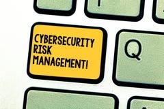 Skriva anmärkningen som visar Cybersecurity riskledning Affärsfoto som ställer ut identifiera hot och applicera handlingar stock illustrationer