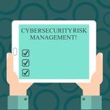 Skriva anmärkningen som visar Cybersecurity riskledning Affärsfoto som ställer ut identifiera hot och applicera handlingHu analys royaltyfri illustrationer