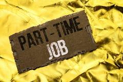 Skriva anmärkningen som visar deltids- jobb Affärsfotoet som ställer ut arbeta några timmar per begränsat tillfälligt arbete för  Fotografering för Bildbyråer