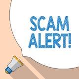 Skriva anmärkningen som visar den Scam varningen Affärsfoto som vanligt ställer ut olagligt trick med avsikt av att få pengar frå stock illustrationer