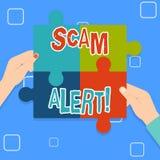 Skriva anmärkningen som visar den Scam varningen Affärsfoto som vanligt ställer ut olagligt trick med avsikt av att få pengar frå vektor illustrationer