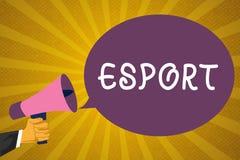Skriva anmärkningen som visar Esport Affärsfotoet som ställer ut den multiplayer videospelet, spelade konkurrenskraftigt för åskå stock illustrationer