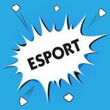 Skriva anmärkningen som visar Esport Affärsfotoet som ställer ut den multiplayer videospelet, spelade konkurrenskraftigt för åskå vektor illustrationer