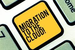 Skriva anmärkningen som visar flyttning till molnet Affärsfoto som ställer ut överföringsdata till apps för hjälpmedel för online royaltyfri fotografi