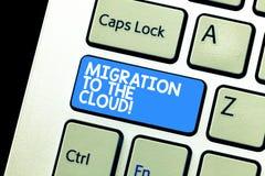 Skriva anmärkningen som visar flyttning till molnet Affärsfoto som ställer ut överföringsdata till apps för hjälpmedel för online arkivbilder