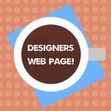 Skriva anmärkningen som visar formgivare webbsidan Affärsfoto som ställer ut någon som förbereder innehållet för bästa Websitessi royaltyfri illustrationer