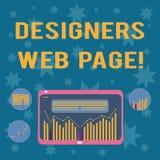 Skriva anmärkningen som visar formgivare webbsidan Affärsfoto som ställer ut någon som förbereder innehållet för Websitessidor stock illustrationer