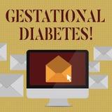 Skriva anmärkningen som visar Gestational sockersjuka Affärsfoto som ställer ut den högstämda nivån av glukos i blodet unde royaltyfri illustrationer
