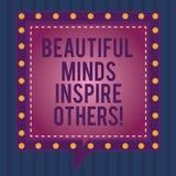 Skriva anmärkningen som visar härliga meningar för att inspirera andra Affärsfotoet som ställer ut positiv visning, ger inspirati royaltyfri illustrationer