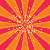 Skriva anmärkningen som visar härliga meningar för att inspirera andra Affärsfotoet som ställer ut positiv visning, ger inspirati vektor illustrationer