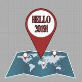 Skriva anmärkningen som visar Hello 2019 Affärsfotoet som ställer ut starta ett Motivational meddelande 2017 för nytt år, är över stock illustrationer